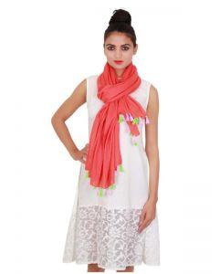 Generic Womens Cotton Straight Duppatta (Red, Multi)