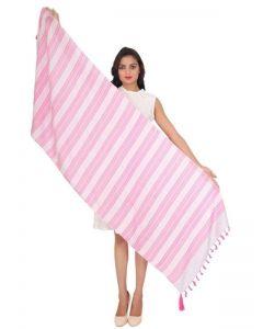 Generic Womens Viscose Straight Duppatta (Pink, Off White)