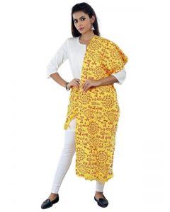 Generic Womens Cotton Mix Straight Duppatta (Yellow, Red)