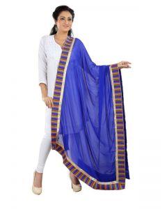 Generic Womens Chiffon Straight Duppatta (Blue, Multi)