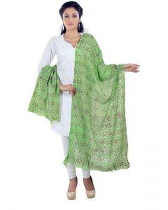 Generic Womens Poly Cotton Straight Duppatta (Green)
