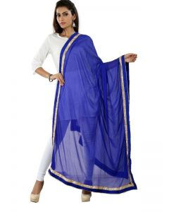 Generic Womens Nazneen Straight Duppatta (Blue, Gold)
