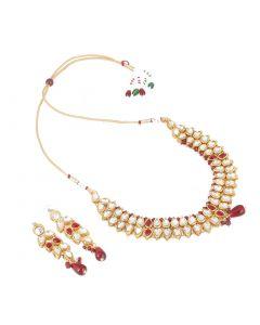 Elegant Bollywood Inspired Ethnic Kundan Necklace with Earrings