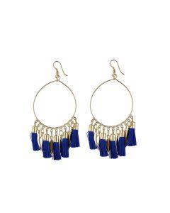 Generic Women's Alloy Hook Dangler Hanging Tassel Earrings-Blue