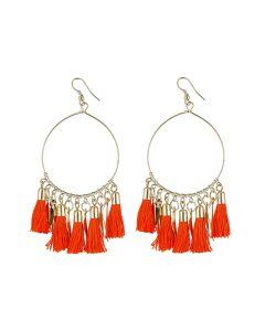 Generic Women's Alloy Hook Dangler Hanging Tassel Earrings-Orange