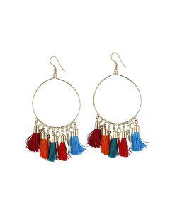 Generic Women's Alloy Hook Dangler Hanging Tassel Earrings-Multi