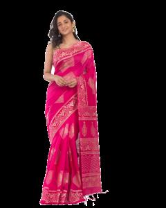Pink handloom festive saree