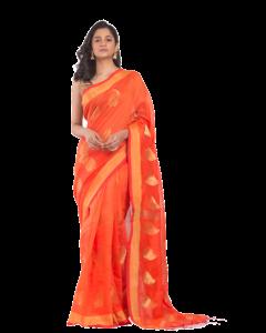 All Over Jecquard jori Work orange Handloom Saree