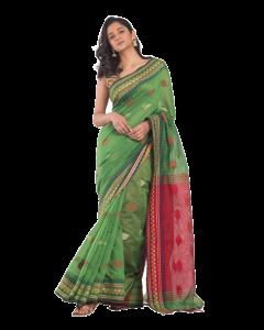 All over jecquard work pine green handloom saree