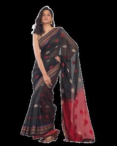 All over jecquard work black handloom saree