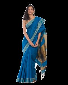 Blue blended Cotton woven handloom saree