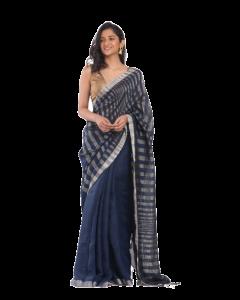 Navy blue linen saree with silver zori pallu and border