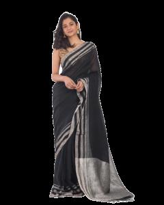 black handloom linen saree silver jori border and pallu
