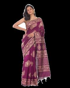 Magenta handloom festive saree