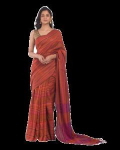 All over jecquard work rust handloom saree