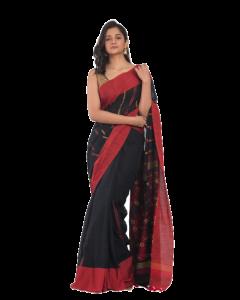 Black handloom Cotton saree