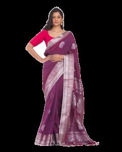 Purple Cotton Linen Handloom Saree