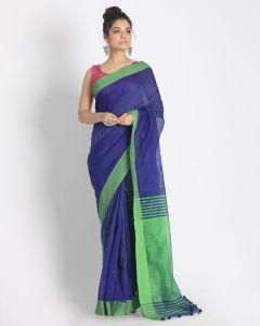 All Over Katha Work Blue Handloom Blended Cotton Saree
